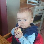 The little man with his cupcake