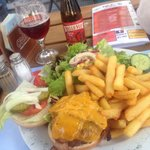 The biggest Hamburger ever, tha plate is so Full , and the waited say: this is the normal Size