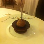 Chocolate dessert. Chocolate under chocolate, covered with cholocate, between two chocolate plat