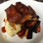 Guinness braised short ribs, roast rainbow carrots and tarragon with  horseradish mash