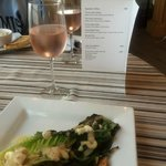 The Grilled Cesar Salad and Rhubarb wine at Cape House