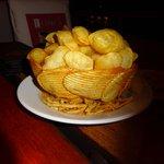 Potatoe souffles in potatoe chip bowl