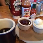 Coffee, syrup and hot sauce