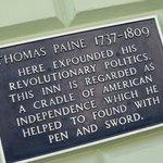 Historic Plaque regarding Thomas Paine