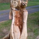 Pine Martin, one of the many Garden Carvings