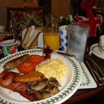 I enjoyed most of  what the breakfast buffet had to offer - pretty dinnerware: a feast for my ey