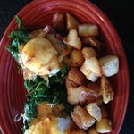 southern-inspired benny with andouille sausage - hot!