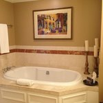 Nice deep soaking tub; bathroom had separate shower.