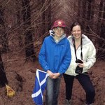 Fiona and one very happy laird having located his plot of Scotland