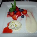 Summer fruits, pistachio ice cream