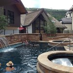 Pool and hot tubes with Vail mtn in the background.