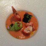 Blue Lobster in tomato juice gazpacho and olive oil, fork crushed avocado lightly spicy
