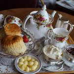 The delicious cream tea
