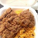 Bistec empanazado and arroz con gandules