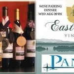 Vermont Vineyard Wine Pairing Dinner Aug 20th 6:30-7pm call 802-681-7625 for info