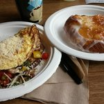 Veggie omlet, coffe and apple danish...belly bustin good