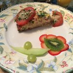 Breakfast quiche with flower of fruit