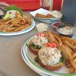 Mahi sandwich, mahi fingers and lobster salad sliders