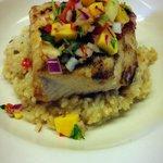 Grilled Mahi- Coconut-Cilantro Rice, Tropical Salsa