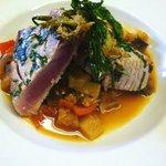 Basil Seared Tuna- ratatouille with local summer squash, zucchini, eggplant, and tomatoes