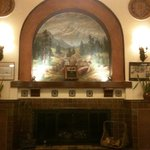 Historic fireplace at lobby