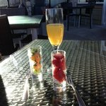 My mimosa & our complimentary starters - Lovely!