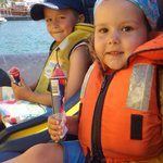 Our children at the start of the boat trip