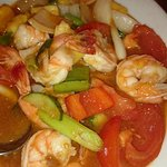 the delicious sweet and sour king prawn