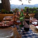 Excellent antipasto and a bottle of Villa Calcinaia Chianti with friends. Perfect!
