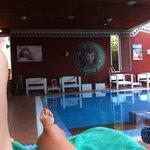 Súper tranquila piscina del Spa, con extraordinarias camas calientes!!!