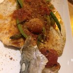 Idaho Trout stuffed with string beans 'all' arrabiata', breadcrumbs
