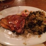 Salmon Steak with Beans and Rice