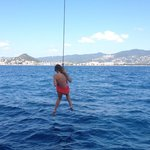 A rope swing attached to the mast!