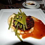 Filet with green beans & mashed potatoes.