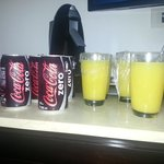 Specially for us. Coke zero and orange juice.