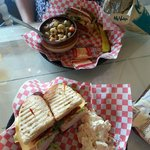 Delicious club sandwich and soup/sandwich combo