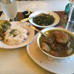 Curry Goat, Collard Greens, and Rice with Kidney Beans