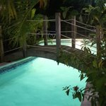 beach side pool at night