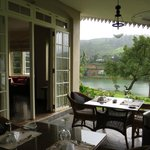 Ceylon Tea Trails (Aug 2013): Lake view from dining area at Castlereagh Bungalow