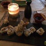 sushi de cangrejo blanco