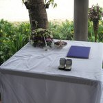 Ceremony table of our wedding at the sala of the beach front villa.