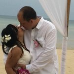 Despite of the drizzling, we managed to have a beautiful wedding at the edge of the beach.
