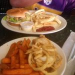 Alligator Burger with fries, Sweet Potato fries and Onion rings