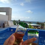 Cheers! To our vacation! From rooftop