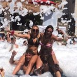Foam party in sexy pool