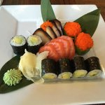 Avocado rolls, blackened tuna, salmon, cucumber stuffed with yellow fin roe, ginger and wasabi -