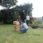 Sue and John got out the garden Jenga for us- a great hit!