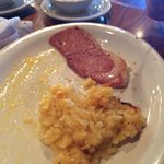 Ham with a casserole and grits