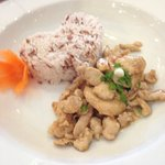 garlic chicken with heart shaped rice