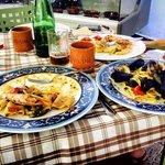 Paccheri gamberoni e zucchine, scialatielli ai frutti di mare